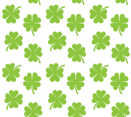 Vector seamless pattern of flat green clover shamrock isolated on white background Иллюстрация