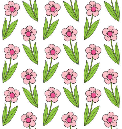 Vector seamless pattern of colored hand drawn doodle sketch daisy flower isolated on white background