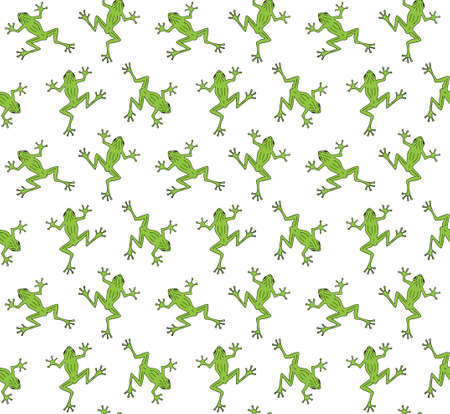 Vector seamless pattern of colored hand drawn doodle sketch frog isolated on white background Иллюстрация