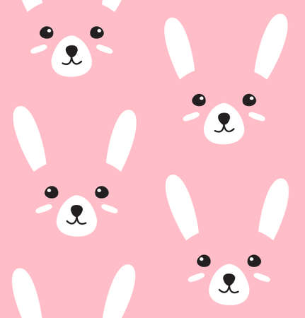 Vector seamless pattern of flat doodle rabbit bunny face isolated on pink background