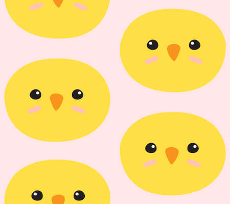 Vector seamless pattern of hand drawn doodle flat chick face isolated on pink background