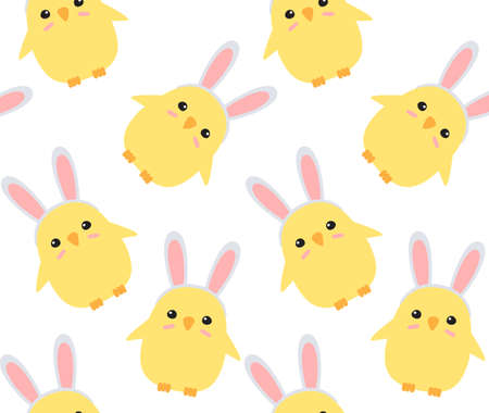 Vector seamless pattern of hand drawn doodle flat easter chick with rabbit ears isolated on white background