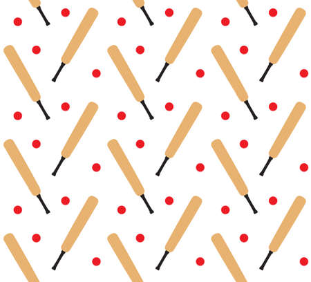 Vector seamless pattern of flat colored cricket bat and ball isolated on white background