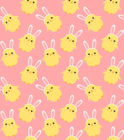 Vector seamless pattern of hand drawn doodle flat easter chick with rabbit ears isolated on pink background