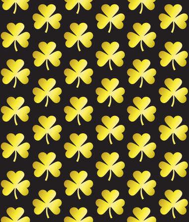 Vector seamless pattern of golden glitter clover shamrock silhouette isolated on black background