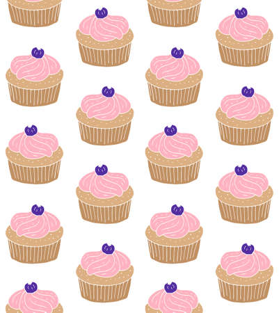 Vector seamless pattern of hand drawn doodle sketch colored cupcake isolated on white background