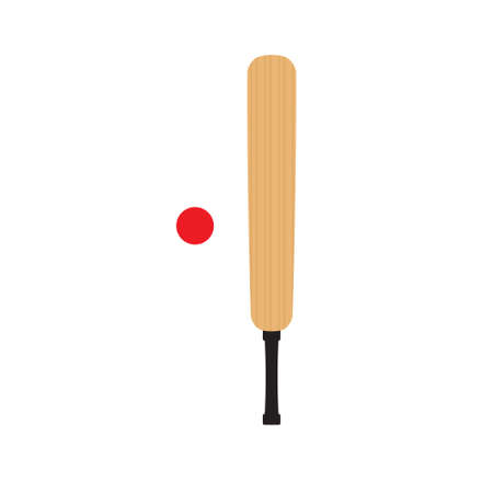 Vector flat cartoon colored cricket bat and ball isolated on white background