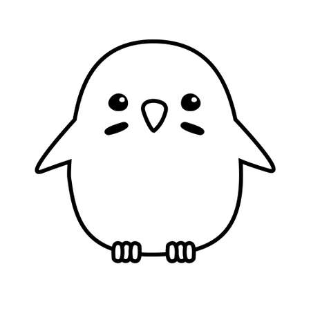 Vector hand drawn doodle flat chick isolated on white background