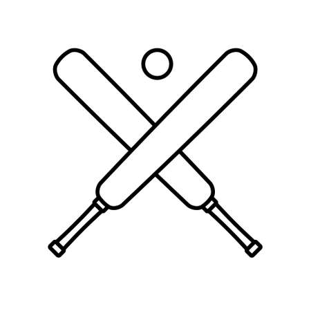 Vector flat crossed cricket bat and ball icon isolated on white background