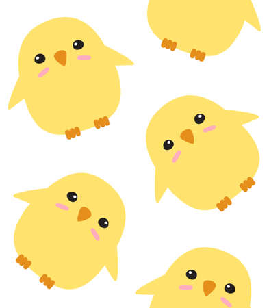 Vector seamless pattern of hand drawn doodle flat chick isolated on white background