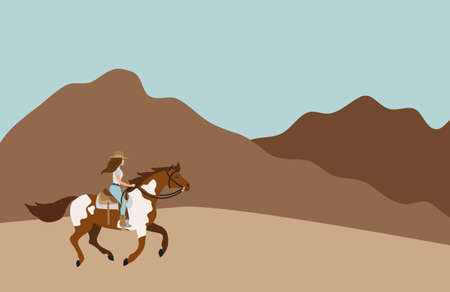 Vector flat cartoon cowboy woman girl riding galloping pinto horse isolated on landscape background