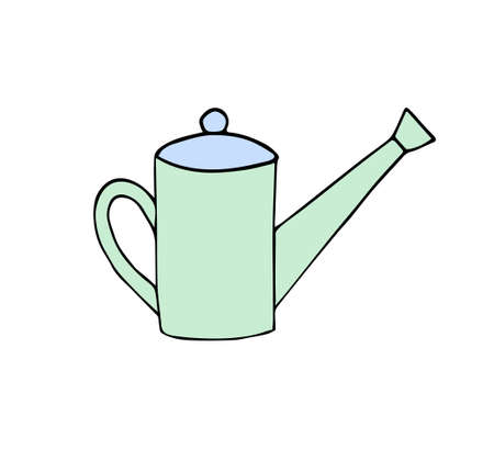Vector hand drawn doodle sketch colored Watering can pot isolated on white background