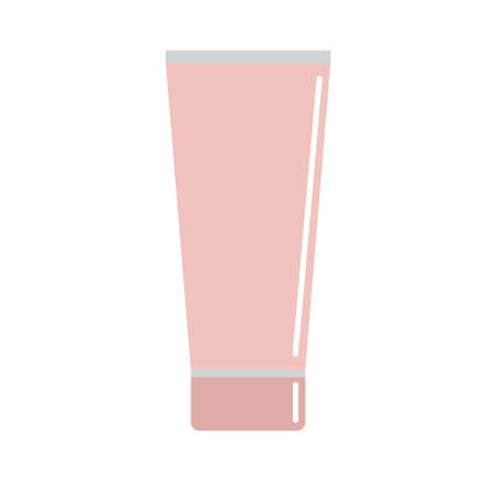 Vector flat cartoon pink colored cream cosmetic tube isolated on white background Illusztráció