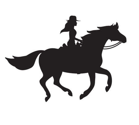 Vector western cowboy girl woman riding running horse silhouette isolated on white background