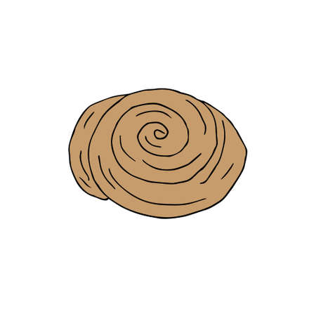 Vector hand drawn doodle sketch colored cinnamon roll bun isolated on white background Иллюстрация