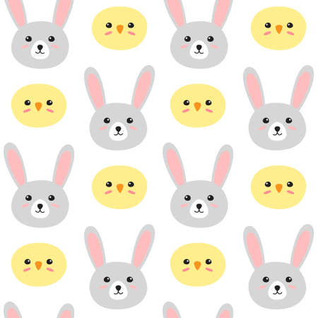 Vector seamless pattern of easter hand drawn doodle flat chick and rabbit face isolated on white background