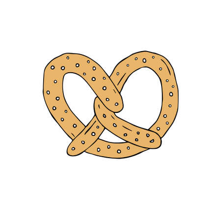 Vector hand drawn doodle sketch colored pretzel isolated on white background