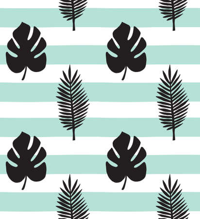 Vector seamless pattern of hand drawn palm and monstera leaves silhouette isolated on mint stripped background Иллюстрация