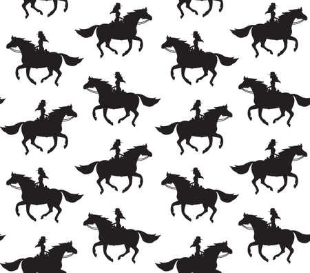 Vector seamless pattern of black western cowboy girl woman riding running horse silhouette isolated on white background
