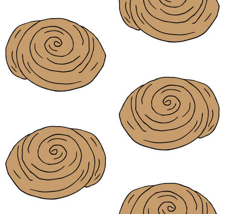 Vector seamless pattern of hand drawn doodle sketch colored cinnamon roll bun isolated on white background