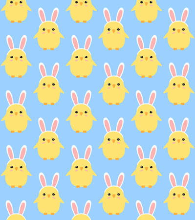 Vector seamless pattern of colored hand drawn doodle flat easter chick with rabbit ears isolated on blue background
