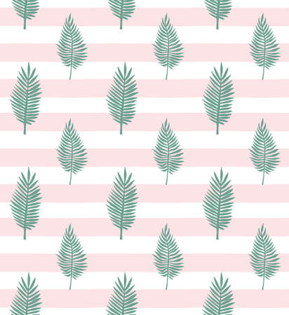 Vector seamless pattern of mint green hand drawn palm leaves silhouette isolated on pink stripped background Иллюстрация