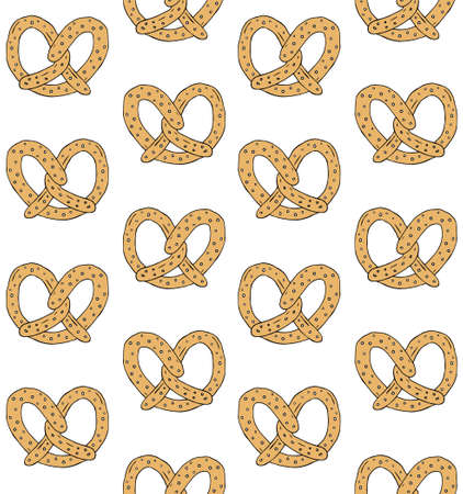 Vector seamless pattern of hand drawn doodle sketch colored pretzel isolated on white background Иллюстрация