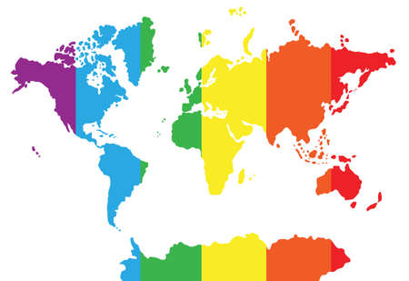 Vector flat World map silhouette with pride rainbow flag isolated on white background Ilustração Vetorial