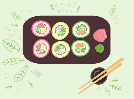 Multi-colored sushi lie on a plate. Green background and soy sauce. Banque d'images - 137307471
