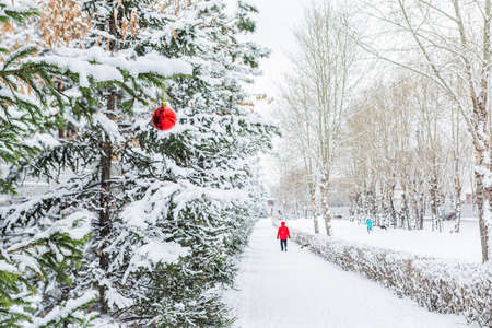 In a snowy city, a red ball hangs on a green Christmas tree. A man in a red jacket walks in the distance. New Year and Christmas concept.