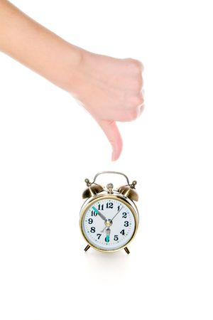 get up:  Concept. Negative attitude to a duty to get up early Stock Photo