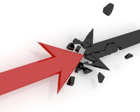 upward movements: Destruction of arrows Stock Photo