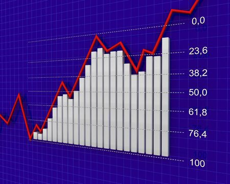 fibonacci number: 3d graph showing rise in profits or earnings
