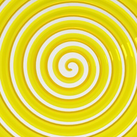 yellow background: 3D Twisting lines Abstract background Stock Photo