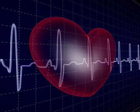 taking pulse: Heart, cardiogram Stock Photo