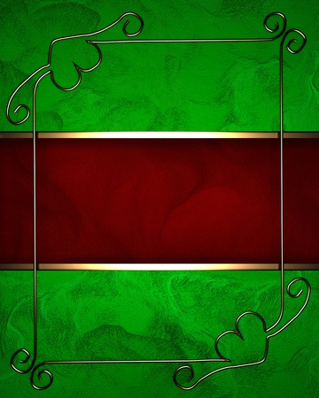 Green background with dark red texture stripe layout photo