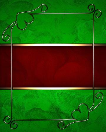 Green background with dark red texture stripe layout photo