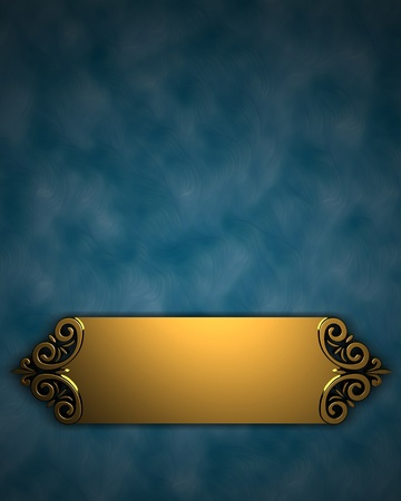 formal blue: Blue Background with Golden Band Stock Photo
