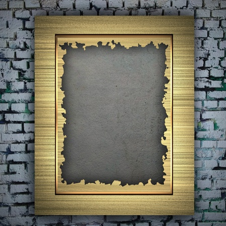 Gold frame on the wall photo