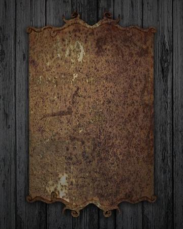 old wooden door: rusty plaque on a wooden texture