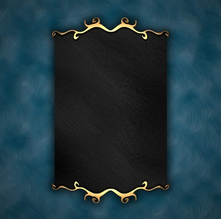 indoor: Blue Background with Black plate and gold trim