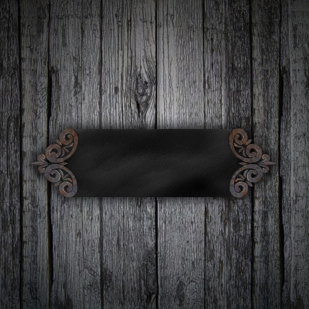 Wood Background with metal black framework photo