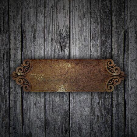nameboard: Wood Background with rust metal framework