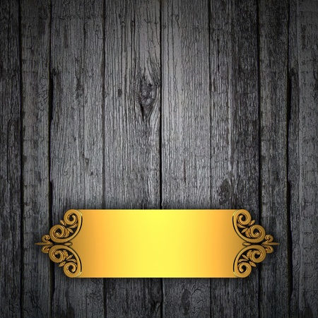 Wood Background with gold framework photo