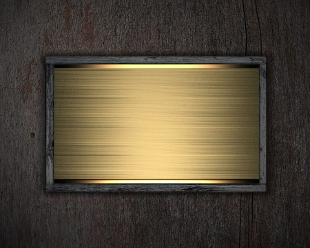 an gold poster on wooden background photo