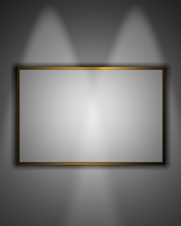 kakemono: Dark gallery Interior with empty frame on wall