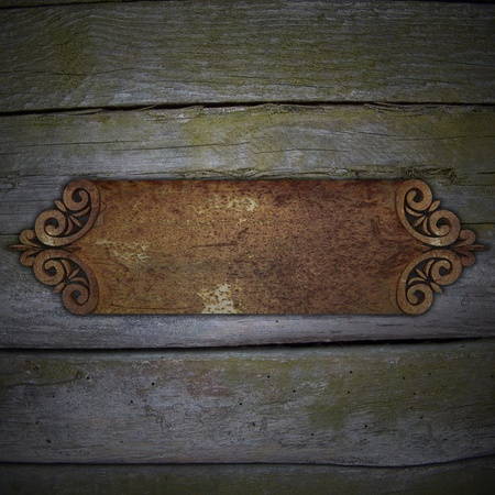 Wood Background with rust metal framework photo