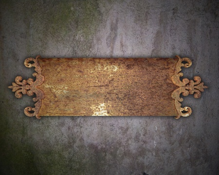nameboard: metal plate on a wall