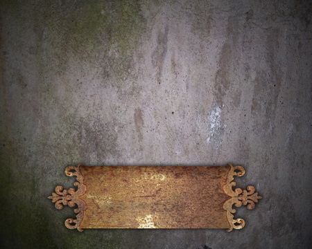 metal plate on a wall photo