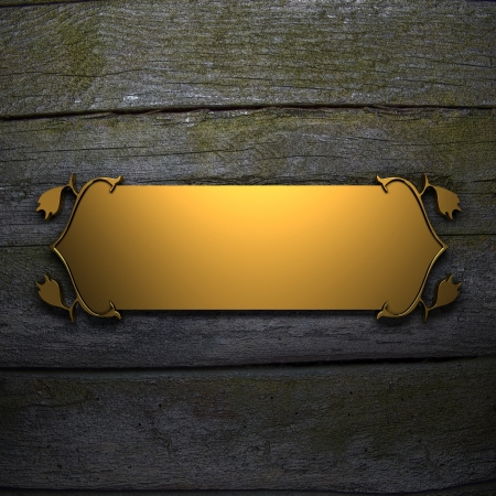 Wooden wall Background with Golden Band photo